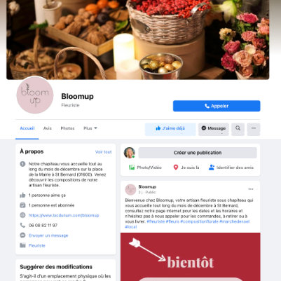 Page Facebook Bloomup